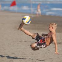 soccer player volley