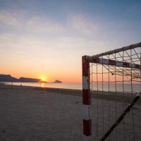 Beach soccer goals on Altea bay at sunrise