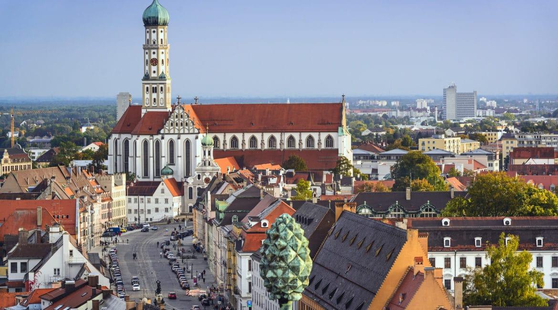 Augsburg, Germany downtown skyline.