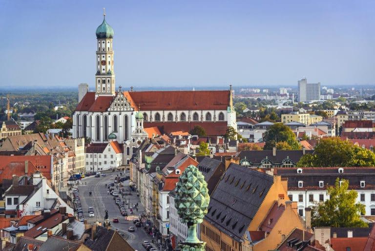 Augsburg, Germania, skyline del centro.